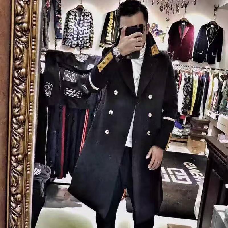 Зимние Для мужчин Повседневное ветровка шерстяные пальто Для мужчин S двубортный из металла Нитки Вышитые шерсть Длинные куртки тонкий Тре