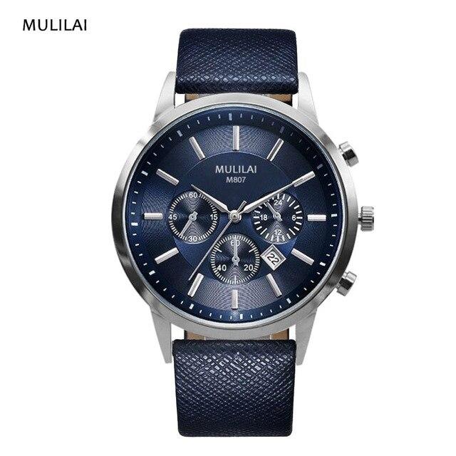 a4f248b406d Código estrela relógio de fivela de aço inoxidável pulseira de couro relógio  de quartzo Homens de