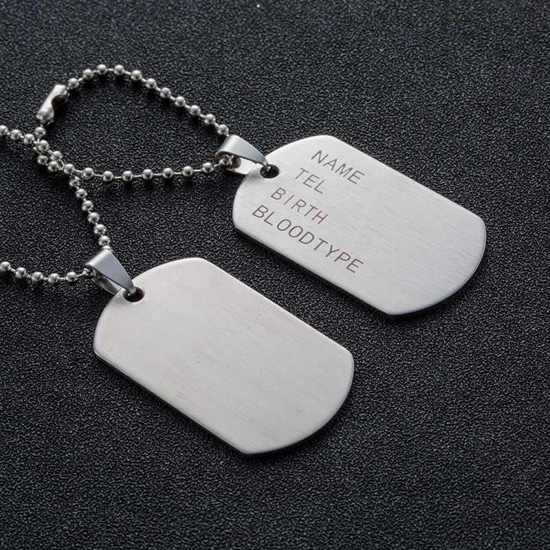 Классический брелок из нержавеющей стали для мужчин ювелирные изделия военная армия тактический гравировка имя бирки Подвеска в виде жетона мужские подвески