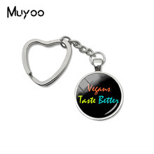 2019 New Vegans Taste Better Heart Keychain Love Vegan Key Chain Glass Dome Cabochon Photo Jewelry(China)