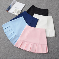 SK17 2017 Drop Ship High Waist Ball Denim Pleated Skirts Harajuku Stripe A Line Skirts