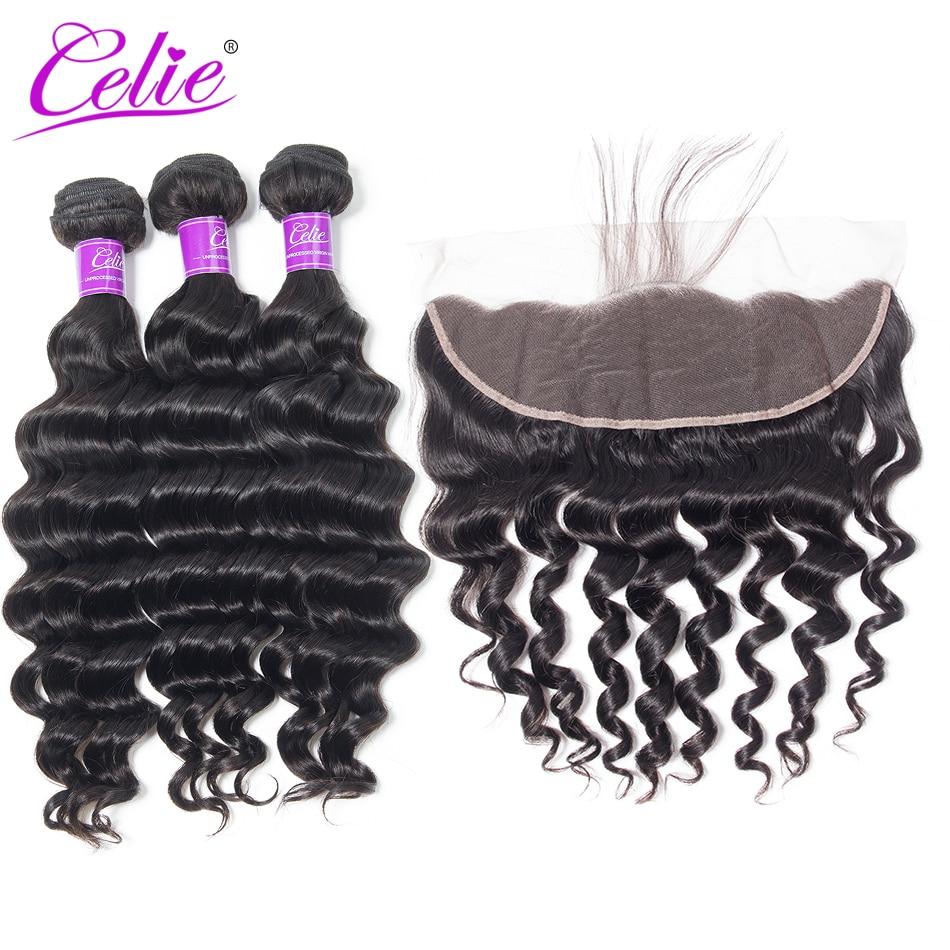 Celie Hair Loose Deep Wave Bundles With Frontal Brazilian Hair Weave Bundle With Frontal Closure Human Hair Frontal With Bundles