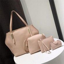 AEQUEEN 4pcs Handbag And Purses Women's PU Leather Bag Female Shoulder Bags Larg