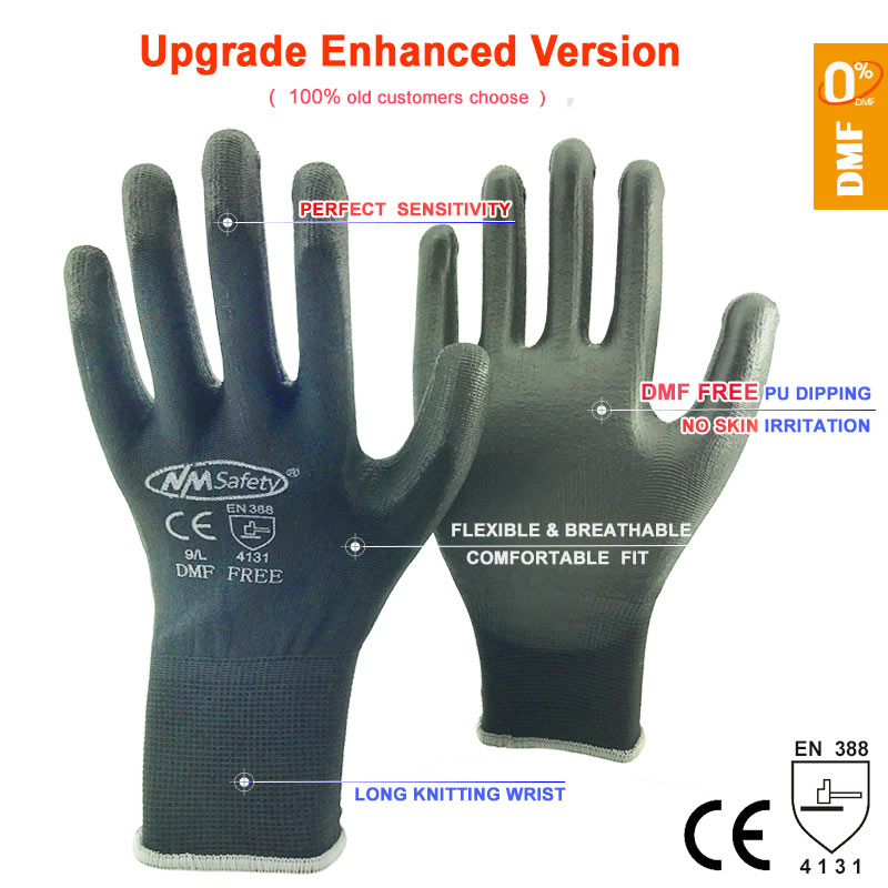 NMSAFETY New Arrival 12 Pairs DMF FREE Black Nylon Knit Cheap Safety Protective Work Glove
