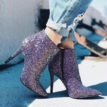 Side Zipper Pointed Toe Stiletto Heel Sequin Glitter Chic Ankle Boots Sexy Riding Boots for Woman Purple Short Boots