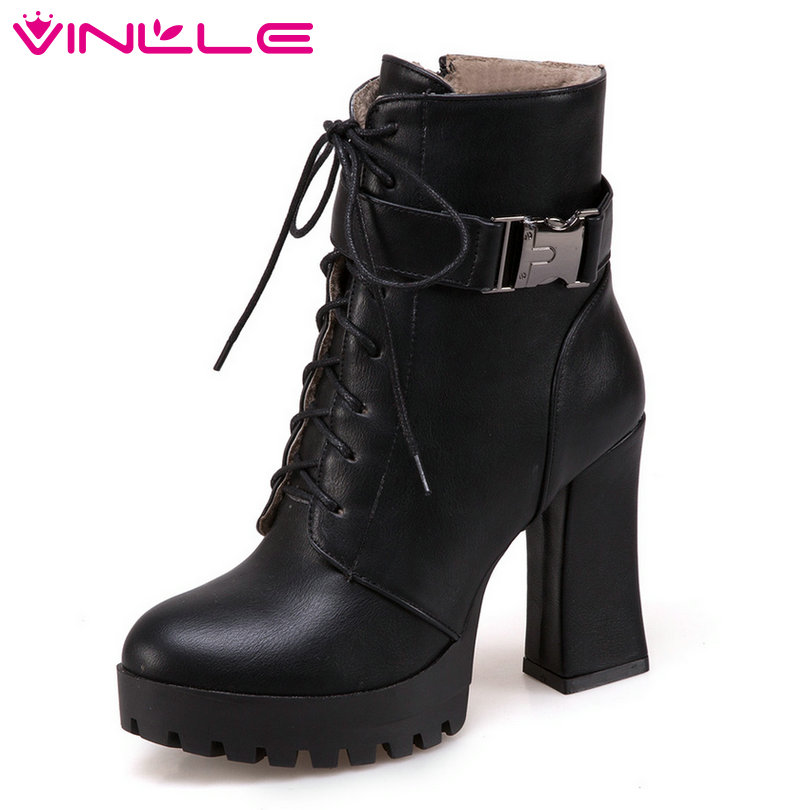 VINLLE 2018 Women Boots Shoes Ankle Boots Sexy Square High Heel PU leather Lace Up Black Ladies Motorcycle Shoes Size 34-43 2017 new fashion lace up women boots genuine leather square heel black autumn winter sexy brand ladies ankle boots women shoes