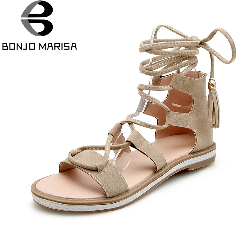 BONJOMARISA 2018 Summer Brand Fashion Rome Women Gladiator Sandals Big Size 34-43 Platform Low Heels Cover Heel Shoes Woman 32 43 big size summer woman platform sandals fashion women soft leather casual silver gold gladiator wedges women shoes h19