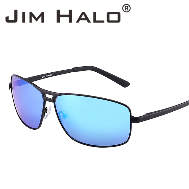 0a0df3a07d59c Jim Halo Retro Polarized Rectangle Spring Hinge Sunglasses Men Driving  Fishing Sun Glasses Blue Lens Black
