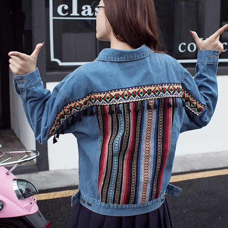 Jean jacket 2018 women boho hippie chic embroidered denim female blue bomber jacket with embroidery coat