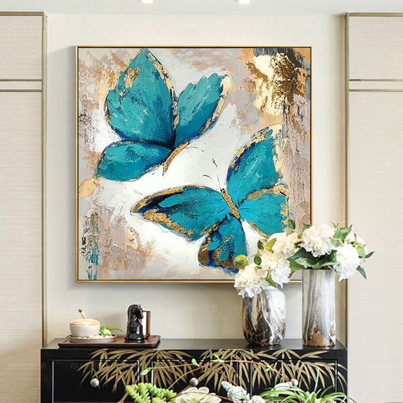 100% Hand Painted Abstract Modern Blue Butterfly Art Oil Painting On Canvas Wall Art Wall Painting For Live Room Home Decoration
