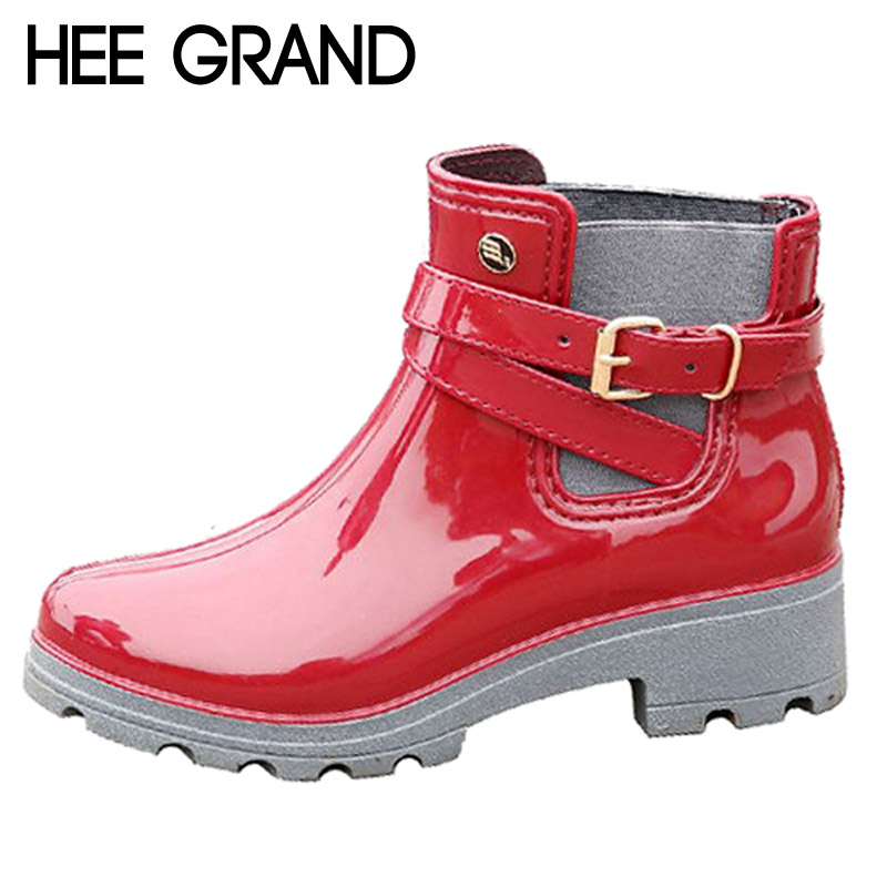 HEE GRAND Rain Boots 2017 Women Ankle Boots Casual Rubber Platform Shoes Woman Creepers Fashion Slip On Flats Plus Size XWX4505