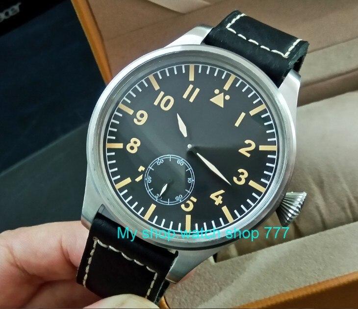 55mm très grand cadran PARNIS asiatique 6498 mécanique main vent mouvement mécanique hommes montres montres mécaniques DF355a