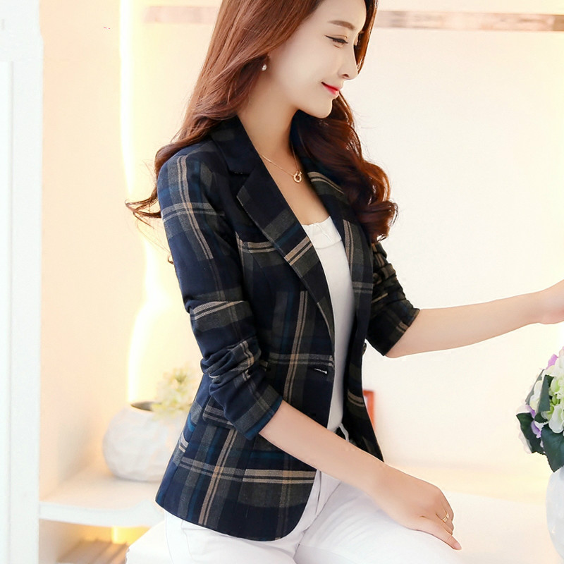 New Korean autumn and a button small suit jacket female commuter classic British lattice long sleeves LOWLUV