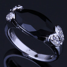 Unusual Marquise Black Cubic Zirconia White CZ 925 Sterling Silver Ring For Women V0655