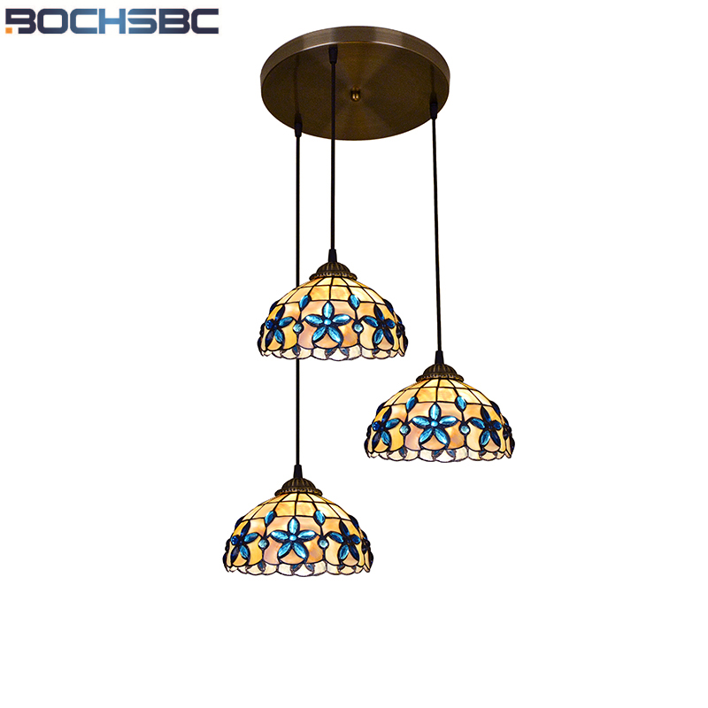 BOCHSBC E27 LED Lamp Lilac Shape Hanging Light European Classical Shell Pendant Lights for Bar Dinning Room Living Room Lampara