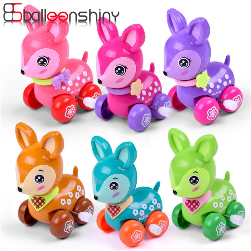 Balleenshiny Clockwork Spring Toy Mini Funny Colorful Toy Baby Kid Dear Style Wind Up Running Gift Random Color For Newborn Baby