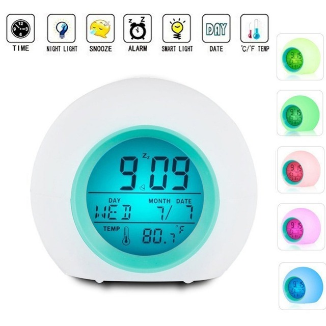 Sunrise wake up Alarm Clock LED Light digital Alarm clock Sound
