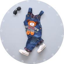 Spodnie dla niemowląt wiosna jesień dla niemowląt chłopcy dziewczęta kombinezony spodnie dla dzieci chłopcy dżinsowy śliniak spodnie małe dziewczynki dżinsy kombinezon ubrania tanie tanio Pełnej długości NYLON COTTON Luźne Denim ExactlyFZ Sznurek Pasuje prawda na wymiar weź swój normalny rozmiar Unisex