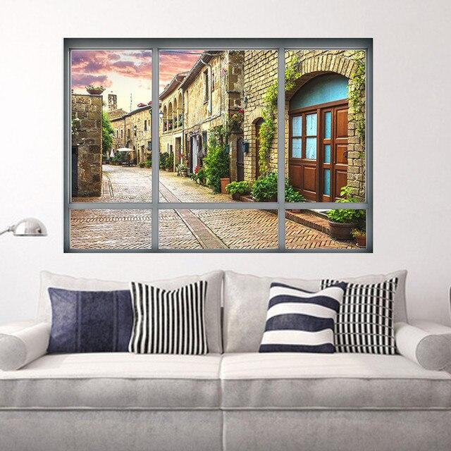Europeu Itália Cidade Edifício Rua Paisagem Wall Sticker Art 3D View  Decalques Living Room Home Decor