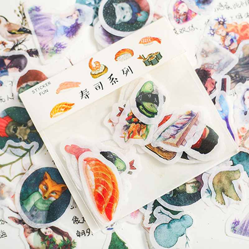 32 Sheets/lot Many Styles Plants Animal Food Paper Sticker DIY Diary Decorative Seal Sticker Album Scrapbooking Stationery