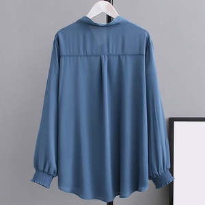 Image 4 - Summer Chiffon Blouses 2XL 5XL Casual Womens Fashion Bow Long sleeve Shirts white Loose Large size Stand Blouses women