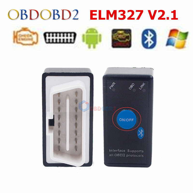 Super Black Power Switch ELM 327 Diagnostic Interface Auto Code Reader V2.1 ELM327 MINI Bluetooth OBDII Car Diagnostic Scanner
