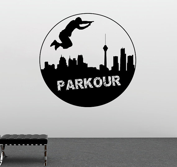 Cool Traceur Parkour Quotes Sport Series Wall Sticker Home Room Art Decorative Traceur With City Silhouette Wall Mural Y 958 in Wall Stickers from Home Garden