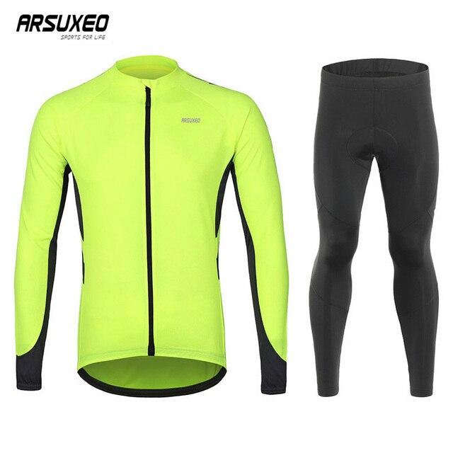 ARSUXEO Bicicleta Sportswear Manga Comprida Ciclismo Jersey Define Respirável Quick Dry Montanha Bicicleta Ternos Roupas Mtb Ropa Bici