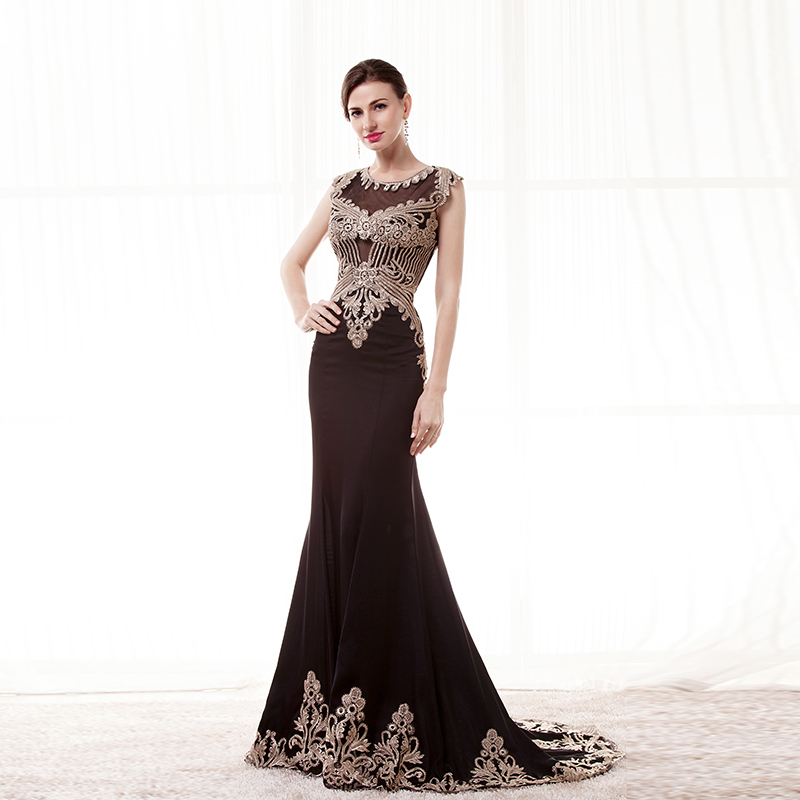 BRLMALL Stunning Black Mermaid Evening Dresses Gold Lace Appliques cap  short sleeves long prom dress party gown vestido de festa-in Evening Dresses  from ... 8977d4d2fa06
