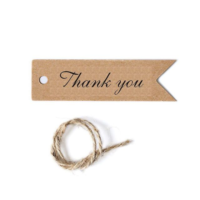 100pcslot 72cm thank you tags flag shaped thank you kraft labels gift