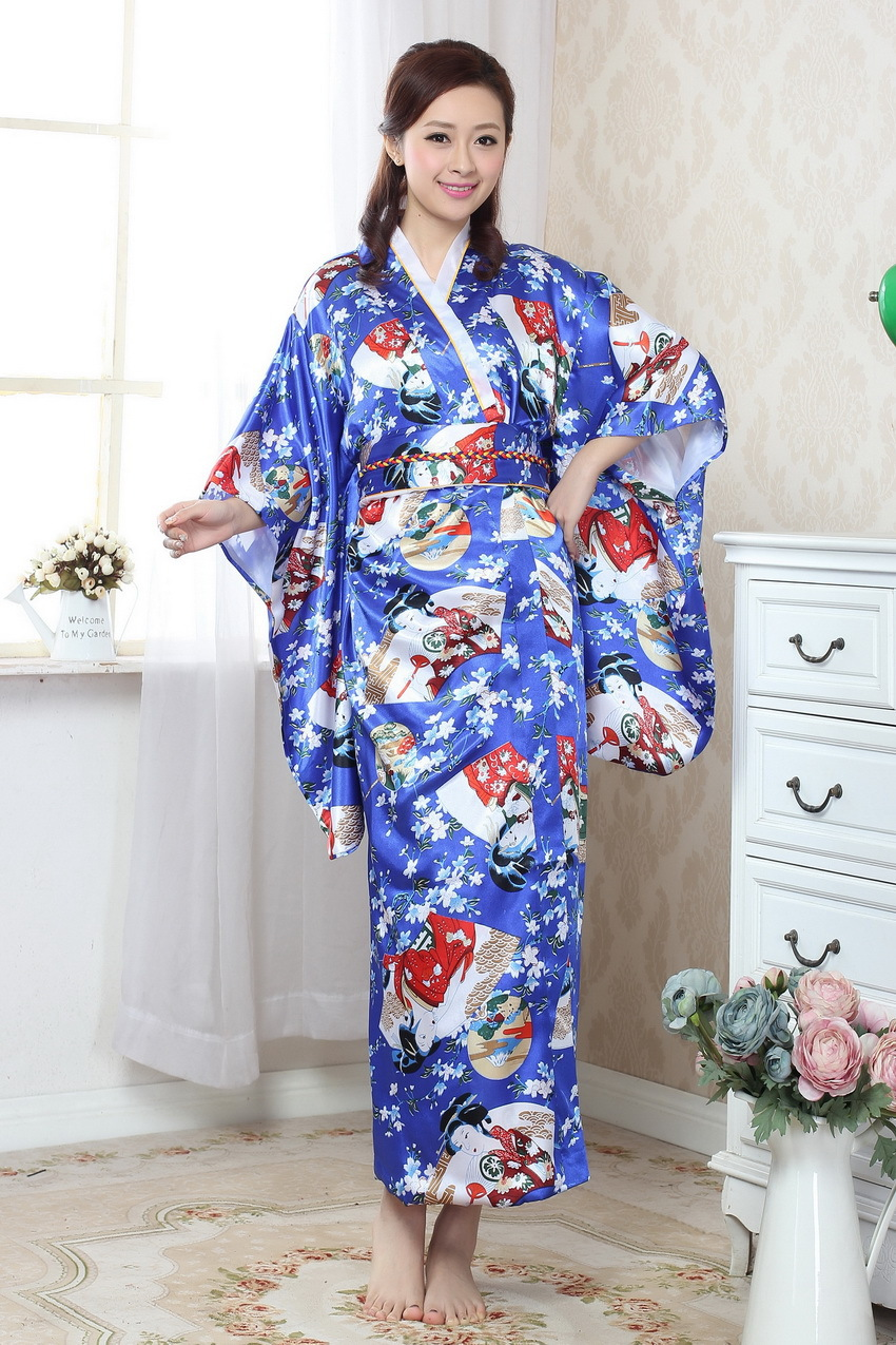 Royal Blue Chinese Traditional  Gown Women's Satin  Kimono Robe
