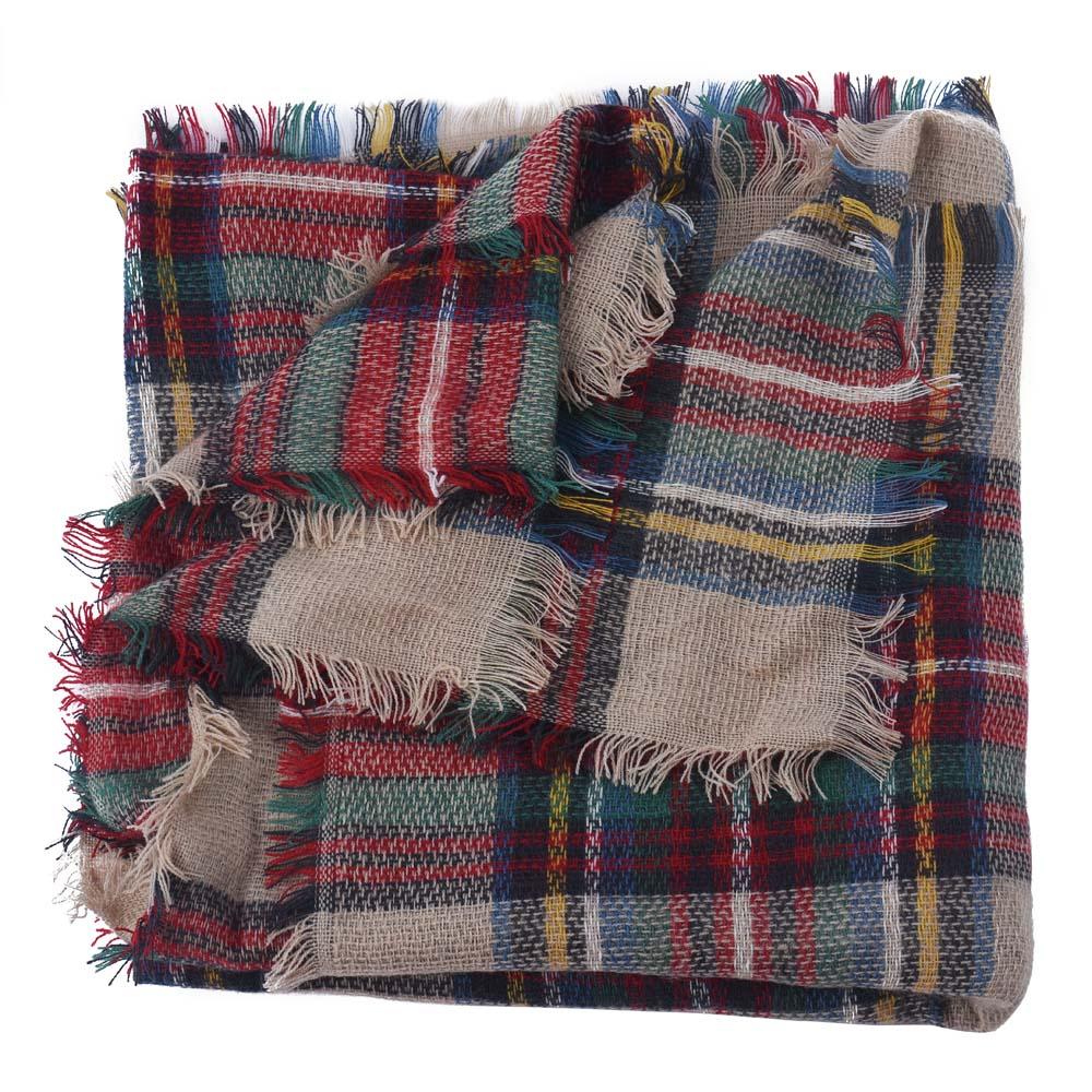 NewlyDesign Wool Blend Blanket Oversized font b Tartan b font Scarf Wrap Shawl Plaid Checked Pashmina