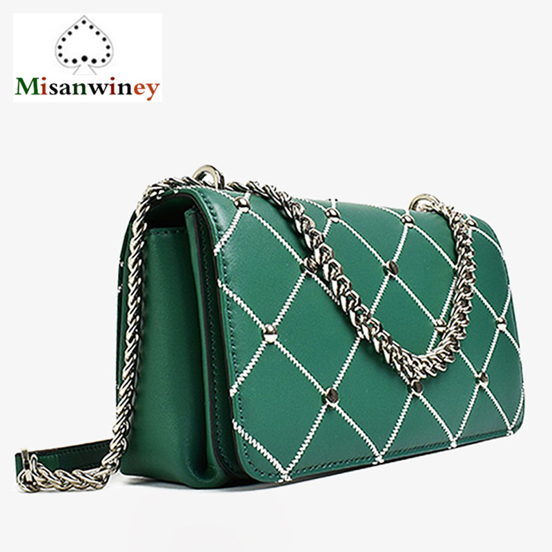 цена на Newest Hot Rivet Ladies Shoulder Bag Brand Ladies Fashion Chain Messenger Bag Women's Clutch Bag Plaid Bags for Women Sac A Main