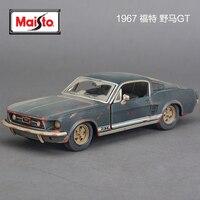 مايستو 1/24 موستانج gt 1967 دييكاست و اللعب نموذج السيارة القديمة رمادي اللون سيارة مصغرة معدن نموذج سيارة للأطفال اللعب