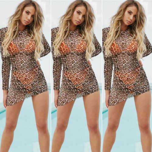 Hirigin Leopard Women <font><b>Dress</b></font> 2018 Fashion See Thorough <font><b>Transparent</b></font> Sheer Long Sleeve Bodycon Mini <font><b>Dress</b></font> <font><b>Sexy</b></font> <font><b>Night</b></font> <font><b>Club</b></font> Wear image