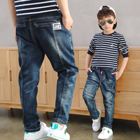2019 Big Boy's Jeans Cotton Fashion Teen ages High Quality kids pants warm winter leggings Full Length Elastic Waist Size100 160