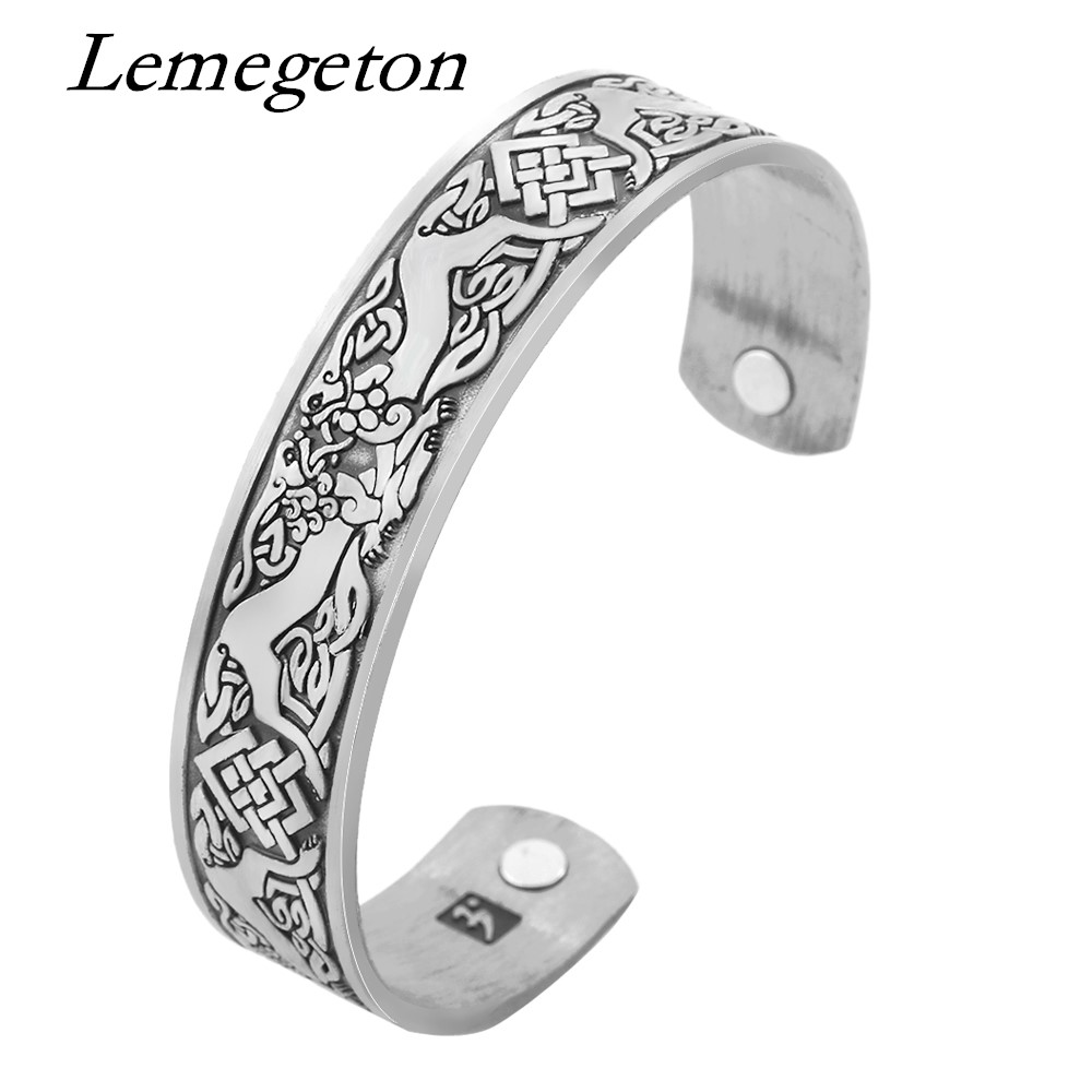 Lemegeton Viking Animal Unicorn Lucky Knot Symbol Wristband Magnetic Cuff Adjustable Bracelets Bangles For Arthritis Pain Relief Sale Overall Discount 50-70% Bracelets & Bangles Bangles