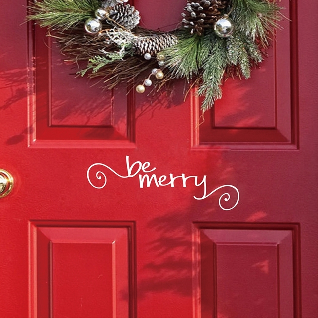 be merry vinyl wall decal front door christmas art decor decals sticker home windows merry - Christmas Decorations For Front Windows