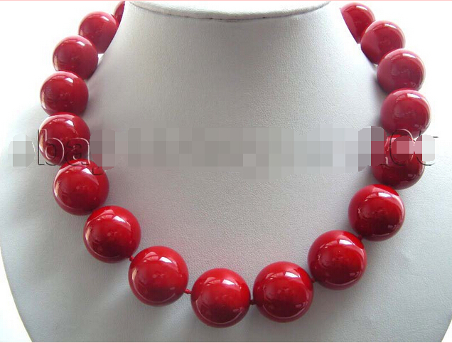 Huge!18 Natural 20mm Red Round Shell Pearl Necklace!@^Noble style Natural Fine jewe FREE SHIPPING