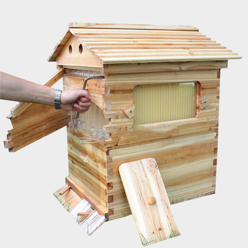 Smart automatic beehive honey flow hive for honey bee hive honeycomb 7PCS flow frames beehive colmena flow hive frames free ship new design honey self flowing wood bee hive with frames
