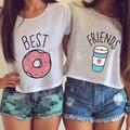 2016 Nuevas Llegadas de Verano Mejores Amigos Letra Impresa Camiseta Para mujeres Blanco O Cuello Blusa Entallada de Manga Corta Camisetas Más El Tamaño Qa37