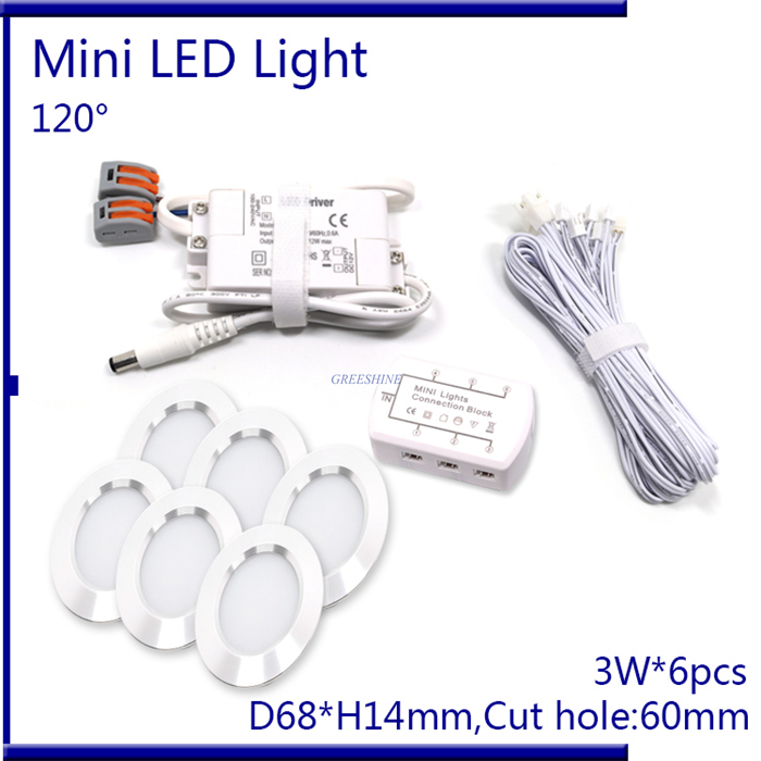 D68XH14MM 6pcs/set With Driver ,6M Cable ,Connector 3W LED Downlight Dimmable Recessed LED Cabinet Light PWM Dimming AC110-240V ...