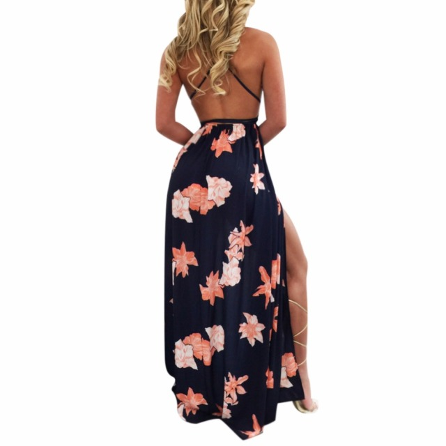 iShine Summer Halter Deep V backless sleeveless side split sexy women long floral beach dresses black printed boho maxi dress