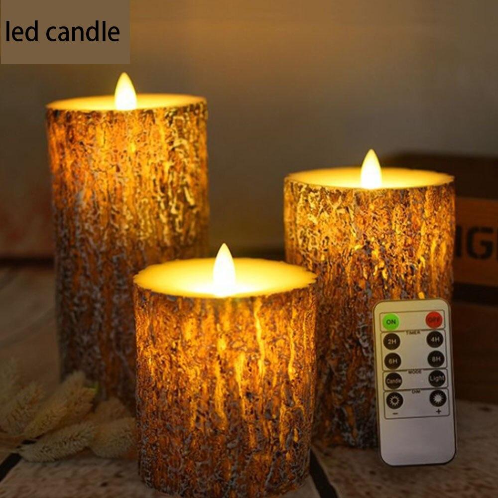 3 uds. Luz LED tipo vela velas a batería lámpara llama vela a Control remoto cera cumpleaños Pilar eléctrico velas de Navidad 30 - 5