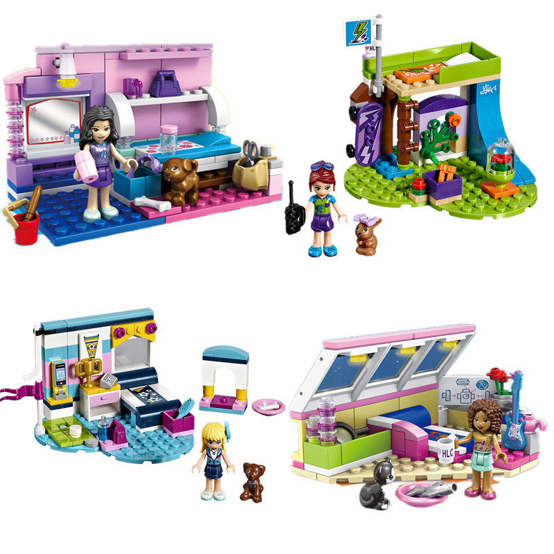 182pcs Compatible With playmobil Friends Model Deluxe Club of Olivia Room Princess Building Blocks Bricks Toys for Children girl