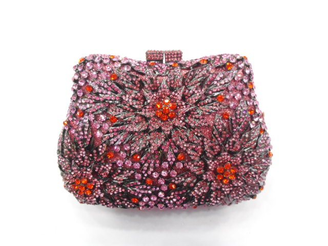ФОТО #8289B Crystal Flower Floral Lady fashion Wedding Bridal Party Night hollow Metal Evening purse clutch bag case handbag box
