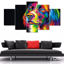 Hd Print Wall Art Pictures Canvas Painting Calligraphy Poster Print 5 Piece Canvas Art Wall Picture Colorful Dog For Living Room
