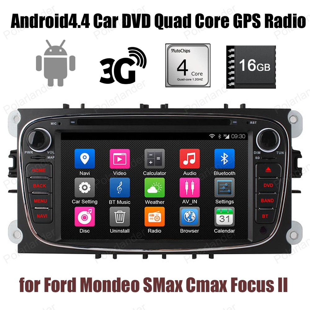 Pour Ford Mondeo s-max c-max Focus II voiture DVD GPS Radio Wifi 3G BT 16G ROM 1024*600 Android4.4 2 din stéréo