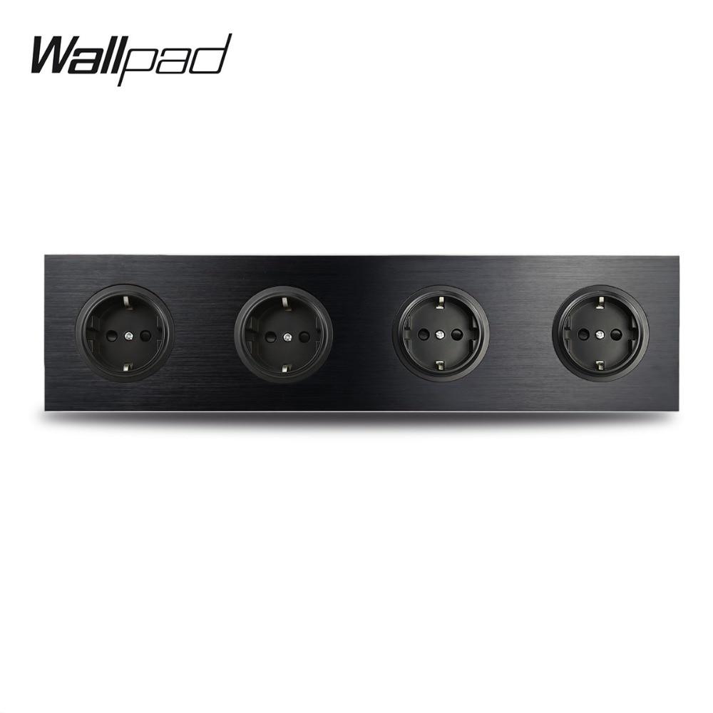 L6 Black Metal Quadruple 4 Way EU German Plug Schuko Power Outlet Wall Socket With Brushed Aluminum 344*86mm 4 Port 4 Gang