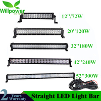 HOT!!!1220324252 Inch Dual Row Straight Off Road Led Light 72W 120W 180W 240W 300W Car Work Light Bar Combo 4x4 SUV ATV